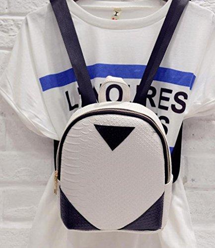 Saingace Frauen Canvas Rucksack prägnant Serpentine Rucksack Schulbuch Schultertasche Freizeitrucksack Tasche Rucksäcke Weiß