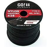 GO!elements 100m Paracord Seil aus reißfestem Nylon - 3mm Paracord 425 Typ II Schnüre als Outdoor Seil, Allzweckseil, Survival Seil, Armband, Hundeleine - Nylonschnur mit Kernmantel für max. 192kg