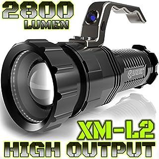Flutlicht/Taschenlampe, 2800Lumen, hohe Ausgangsleistung, wiederaufladbar, fokussierbar vom Flutlicht bis zur Punktleuchte, XLamp-XM-L2-Cree-LED (20 % heller als T6-LED), taktische Taschenlampe, Batterien nicht enthalten