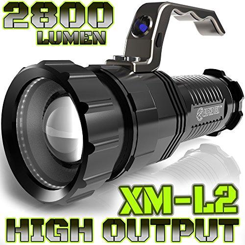 Lumen 2,800, alta salida, recargable, con zoom, de proyector a reflector, X-Lamp XM-L2 LED CREE (20{2ae7298aa21974705866dc49921323b1ee6ac7af939e64c222fbfe059a4ad9f8} más brillante que LED 6T) linterna táctica, no incluye baterías, NO BATT