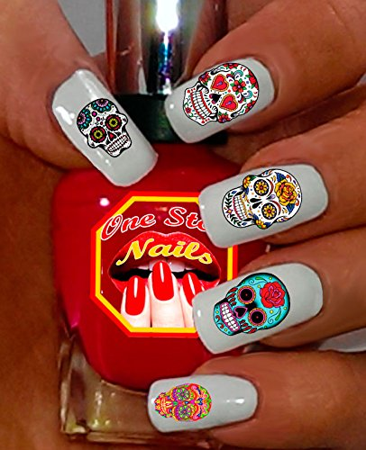 Sugar Skull Nail Art Decals (Tattoo). Set of 63 Clear Waterslide Nail Decals. Dia de los Muertos. SS001-63 by One Stop Nails by One Stop ()