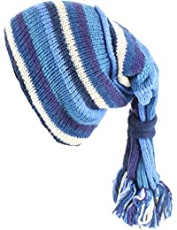 SLOUCH BEANIE HIPPIE FESTIVAL TASSEL HAT Wool Knit Fleece Lined BLUE STRIPE
