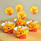 12x Winnie the Pooh Kids Party Birthday Kuchen Cupcake Wrapper und Topper