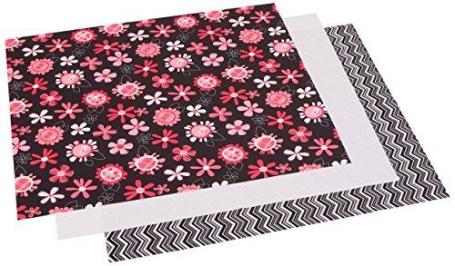 Dritz 21x 24babyville PUL Wasserdicht Windel Stoff Schnitte, schwarz, 3Stück Chevron/Pink Floral -