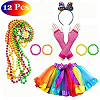 Lhasam 80s Fancy Dress Costume Accessories Women Girls, 80s Fancy Dress Party Costume Accessories with Neon Rainbow Dress Glove Neon Bracelets Necklaces Lace Bow Headband 80 s Costume
