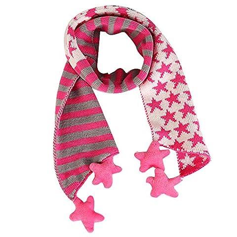 Tonsee® Enfants Noël Classique étoile à cinq branches echarpe (Rose)