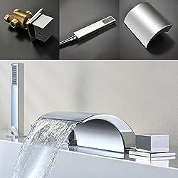 KINSE 5-Set Badewannenarmatur Wannenarmatur Wasserhahn Badewanne Wasserfall für Badewanne mit Handbrause