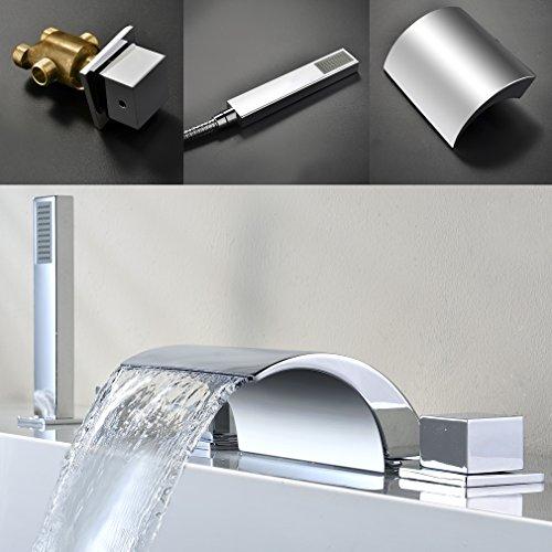 Auralum® 5 Hole Bath Filler Tap Chrome Single Lever Waterfall Tap Basin Bathroom  Bath Filler
