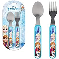Disney Frozen Lr0245niños de acero inoxidable Plástico Conjunto de cubiertos Cuchara ...