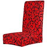Cubierta Funda Protectora Extraíble Estirable para Silla Taburete de Comedor (rojo)
