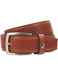 Pierre Cardin Mens leather belt / Mens belt, leather belt curved, cognac
