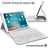 Seluxion - Etui de Protection Blanc avec Clavier Azerty Connexion Bluetooth Pour...