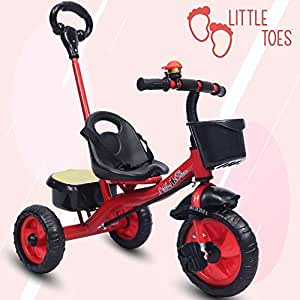 Little Olive Little Toes Baby Tricycle Phthalates Esters Free; Harmful Chemicals Free / Kids Trike / Ride On with Parental Push Bar, Foot Rest   Suitable for Boys & Girls - (1 to 4 Years)