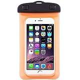 TheSmartGuard Wasserdichte Handyhülle , Hülle, Tasche, Staubdichte Schutzhülle für iPhone 7 (Plus) / 6 & 6s (Plus) / 5s / SE / 5, Galaxy S7 / S7 Edge / S6 und viele weitere Modelle bis zu 6 Zoll in orange