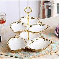 PORCN Europäische Luxus Keramik 3-Schichten Home Party Obstteller DecorationChristmas Dessertschüssel Hochzeit Süßigkeiten Gericht Snacks Platte, A