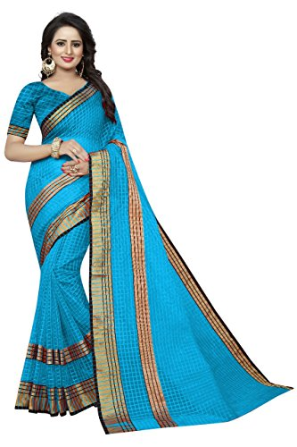 Manorath Women's Cotton Saree With Blouse Piece (Sky)