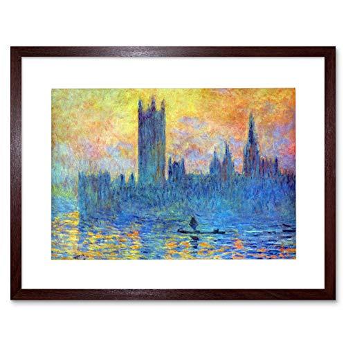 Wee Blue Coo Monet London Parliament Winter Painting Lámina Enmarcada 12 x 16 Pulgadas