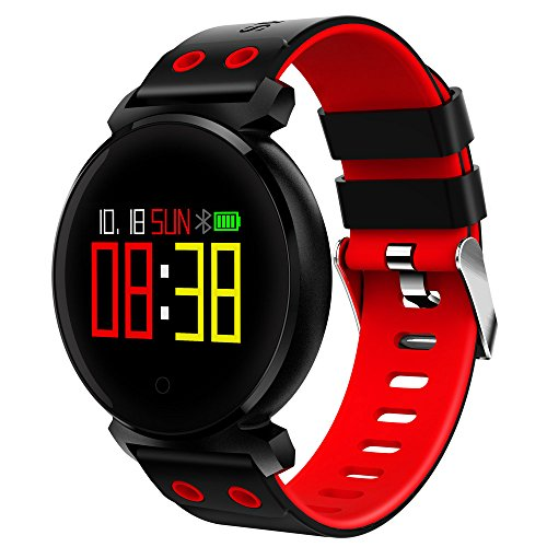 Fitness Trackers, CACGO K2 Pulsuhr, Schrittzähler Armband, Bluetooth 4.0 Aktivitätstracker, Wasserdicht IP68 Smartwatch Sportuhr mit Herzfrequenz, Schlafanalyse, Kalorienzähler, Remote Shoot, Anruf/SMS Reminder für iOS Android (rot)