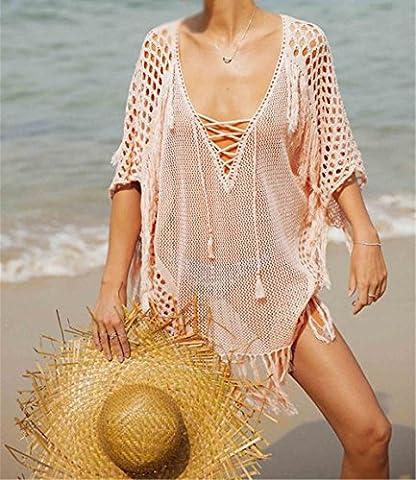 MONEYY Bordure tricot jupe plage maillot bikini bandes resort relaxe smock shirt crème solaire (pas de bikini) sont le code B