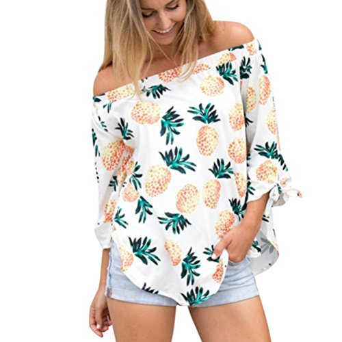JUTOO Damenmode Langarm T-Shirt Ananas Bluse