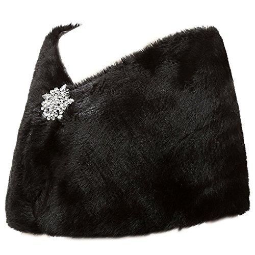 Sarahbridal Damen Kunstpelz Wrap Cape Hochzeit Stola-Schal Bolero für Brautkleid Warm Winter Umhang S17012 Schwarz