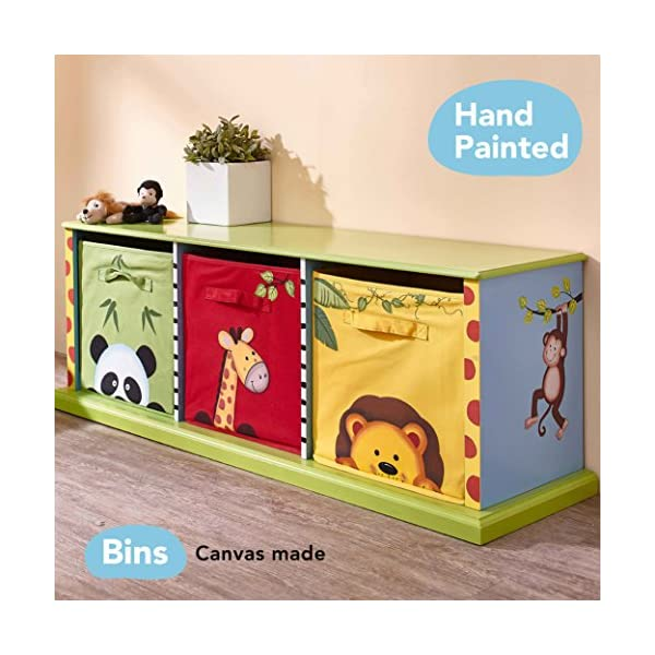 Fantasy Fields - Sunny Safari themed Wooden Drawer Cubby with 3 Canvas Drawers |Hand Crafted & Hand Painted Toy Storage Unit Toybox | Child Friendly Water-based Paint Fantasy Fields By Teamson Colourful organised storage cabinet for those keepsakes, toys, games and nik naks. Dimensions 121.92 x 37.47 x 43.82. 3 canvas bags included Sturdy and free standing. Suitable for Kids Bedroom and Playroom enchancing your little ones organisational skills Teach your kids colour and character recognition and enhance their imaginative minds.  Great for encouraging children's independence 2