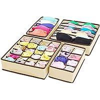 4 x XL Underwear Storage Box – Sous le lit ou sous l'armoire. Rangement de grande capacité pour culottes,