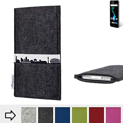 flat.design für Allview P6 Pro Schutzhülle Handy Tasche Skyline mit Webband München - Maßanfertigung der Schutztasche Handy Hülle aus 100% Wollfilz (anthrazit) für Allview P6 Pro