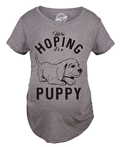 Crazy Dog Tshirts Maternity Hoping It's A Puppy Tshirt Funny Sarcastic Pet Dog Lover Pregnancy Tee -L - Damen - L (T-shirt Puppy Tee)