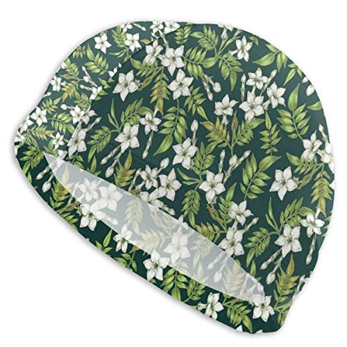 astic Swimming Hat Diving Caps,Romantic Arrangement of Flowers Awakening Buds In Nature Print,for Men Women Youths ()
