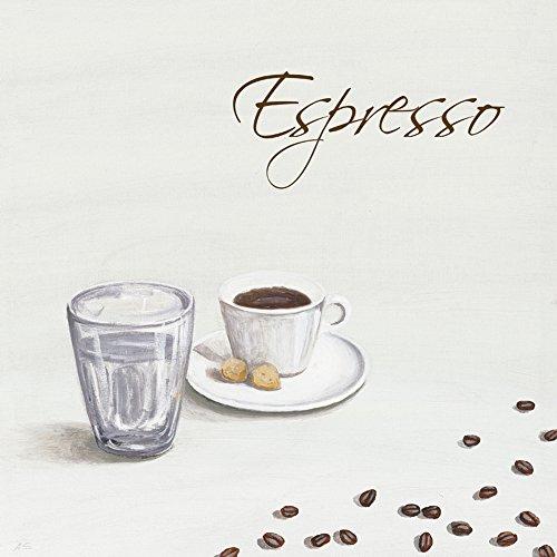 Artland Qualitätsbilder I Bild auf Leinwand Leinwandbilder Wandbilder 30 x 30 cm Ernährung Genuss Getränke Kaffee Malerei Weiß A5FK Espresso - Espresso Leinwand
