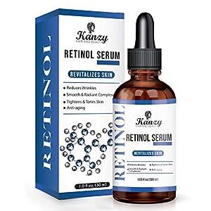 KANZY Retinol Sérum 2.5% con ácido hialurónico para el acné antienvejecimiento Círculos oscuros Arrugas aceite facial aceite de piel humectante de piel para Pieles Sensibles 30ML