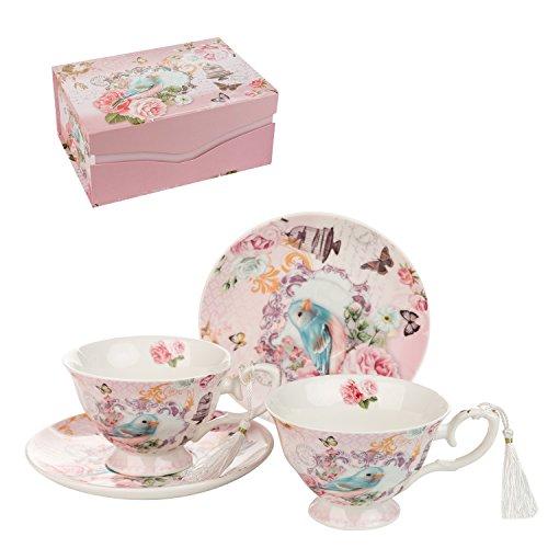 London Boutique Set aus Kaffee-/Teetassen und Untertassen, Shabby Chic, Vintage-Design, Porzellan mit Blumenmuster, 2 Sets in Geschenk-Box, Keramik (Cuckoo) -