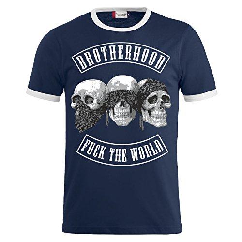 Männer und Herren T-Shirt PATCH Dunkelblau/Weiß