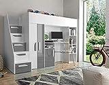 Furnistad | Hochbett für Kinder Sunrise | Kinderhochbett mit Treppe, Schreibtisch und Schrank (Weiß + Grau, 90 x 200 cm)
