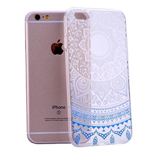 iPhone 6S Coque SmartLegend Apple iPhone 6 iPhone 6S TPU Back Cover Transparent Gradient Color Sunflower Tribal Ultra Thin Clair Silicone Souple Cas Etui Mode Extrêmement Bumper Mince Légère Flexible  Bleu