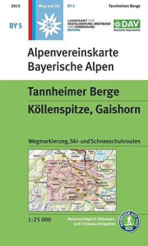 Tannheimer Berge, Köllenspitze, Gaishorn: Topographische Karte mit Wegmarkierungen, Ski- und Schneeschuhrouten (Alpenvereinskarten)