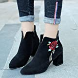 Women Boots,FeiXiang Womens Retro Embroidered Leather Loafer Casual Mid Calf Boots High Heel Shoes