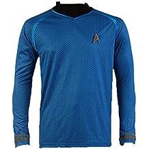 """Camiseta para disfraz, diseño de uniforme de Spock en la película """"Star Trek, en la oscuridad"""", color azul"""
