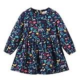 LEXUPE Kleinkind-Baby scherzt Mädchen-Lange Hülsen-Blumenreißverschluss-Prinzessin Dresses Clothes(Marine,120)