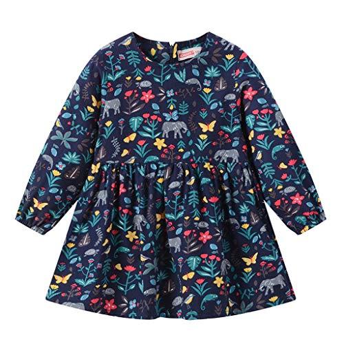 Baby Mädchen Kleider Freizeit Kleid Elefantenmuster Herbst Floral Prinzessin Kleid Crewneck T Shirt Kleid Bunt Niedlich Tier Drucken Warm Langarmshirt