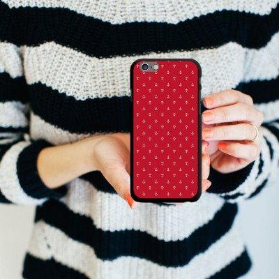 Apple iPhone 5s Housse Étui Protection Coque Ancre Mode été Rouge CasDur noir