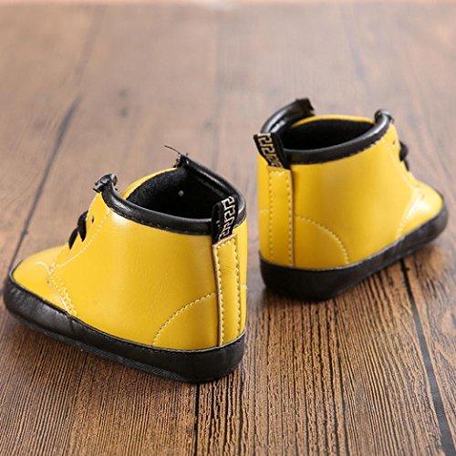 kingko® Hiver bébé unisexe garçon fille Enfant Martin Boot Berceau chaud Chaussures Sneakers Jaune