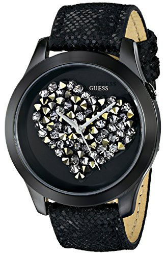 GUESS Women's U0113L4 Black Clearly Inspired Crystal Heart Watch