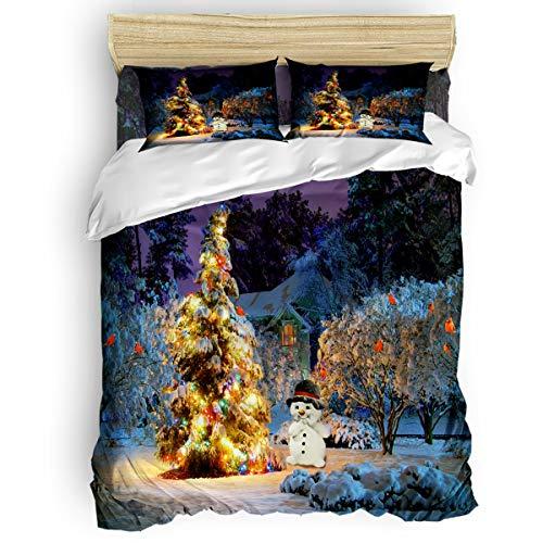 Saloomy 4-teiliges Bettwäsche-Set, Retro, Schottland-Plaid, Ultra-weich, 4-teiliges Bettbezug-Set mit dekorativen 2 Kissenbezügen, Tagesdecke Bettlaken, Polyester, Christmas34wmt9962, California King -