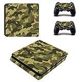 DOTBUY PS4 Slim Skin Aufkleber Sticker Design Folie schützende Haut Schale für Sony Playstation 4 Slim Konsole und 2 Dualshock Controller (Camouflage Green)