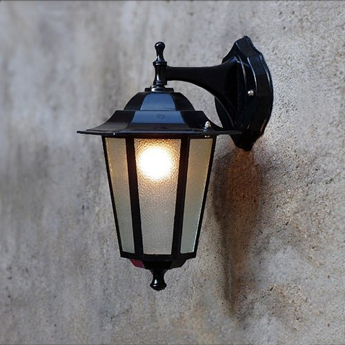 Rechteckige Abgeschrägte Glas (Modeen Traditionelle Art-Schwarz-im Freien unten Wand-Lichter Druckgussaluminium-abgeschrägtes Glas an der Wand befestigt IP23 Wand-Laterne-Wand-Lampe Garten-Beleuchtungs-Befestigungen ( Color : Black-L ))