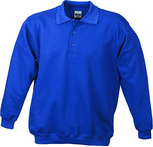 James & Nicholson Herren Polo-Sweat Heavy Sweatshirt Blau (Royal)