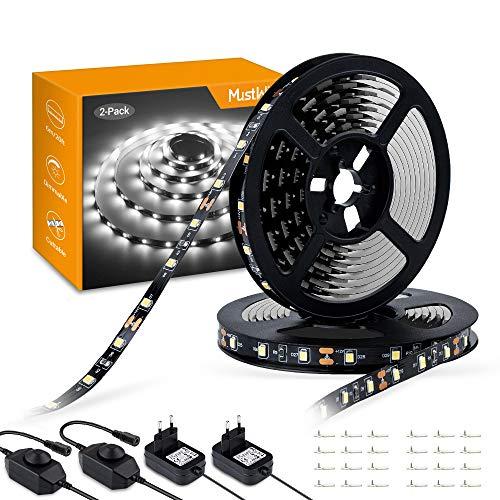 Deko-küche-schränke (MustWin LED Streifen 6M LED Band Dimmbar Lichtband 360 LEDs 6000K Kaltweiß Selbstklebend 2835SMD mit 12V Netzteil Innenbeleuchtung für Deko Küche Zimmer Party (2 Stück))