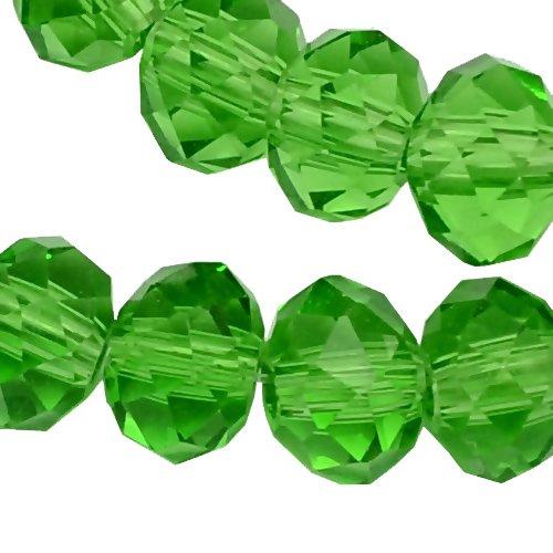 20 TSCHECHISCHE KRISTALL GLASPERLEN 8mm x 6mm Grün Peridot Facettiert Rondell Glasschliffperlen Feuerpoliert Perle zum fädeln für DIY Schmuck Herstellung - Kristall Gläser Tschechische